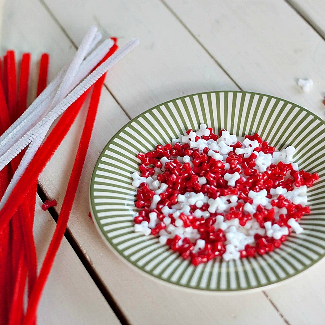 beaded candy cane ornament