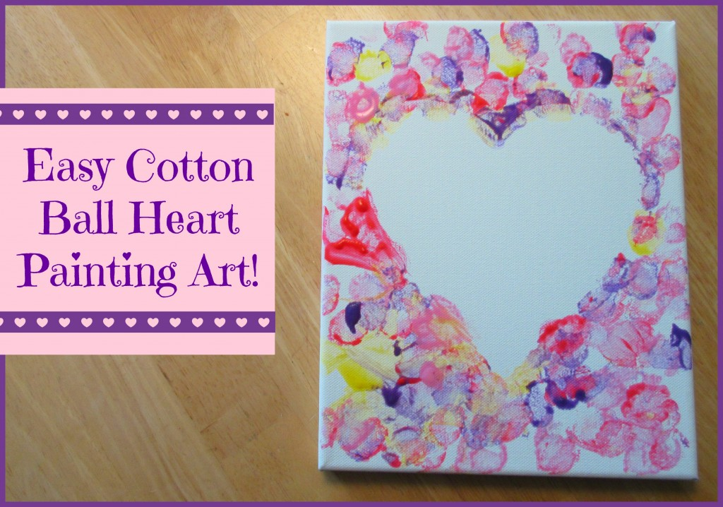 cotton ball heart painting crafts for kids