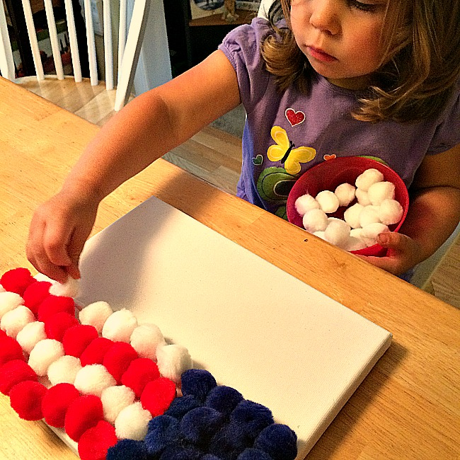 pompom flag crafts for kids