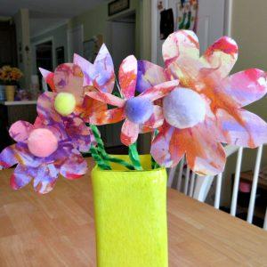 shaving cream paint flower crafts for kids