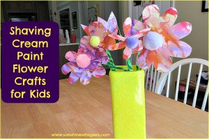 shaving cream paint flower crafts for kids