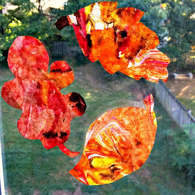 Marbled Paper Fall Leaf Crafts for Kids