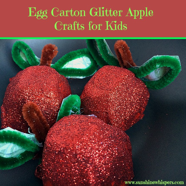 Egg Carton Glitter Apple Crafts for Kids
