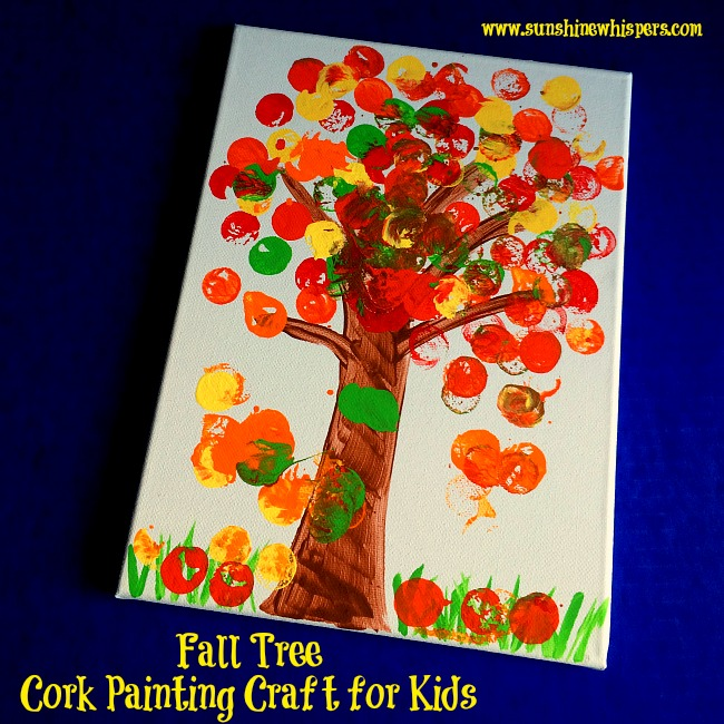 fall tree cork painting craft for kids