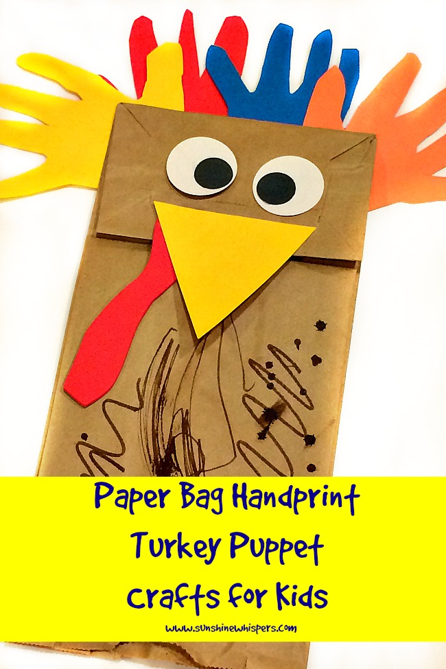 paper bag handprint turkey puppet crafts for kids