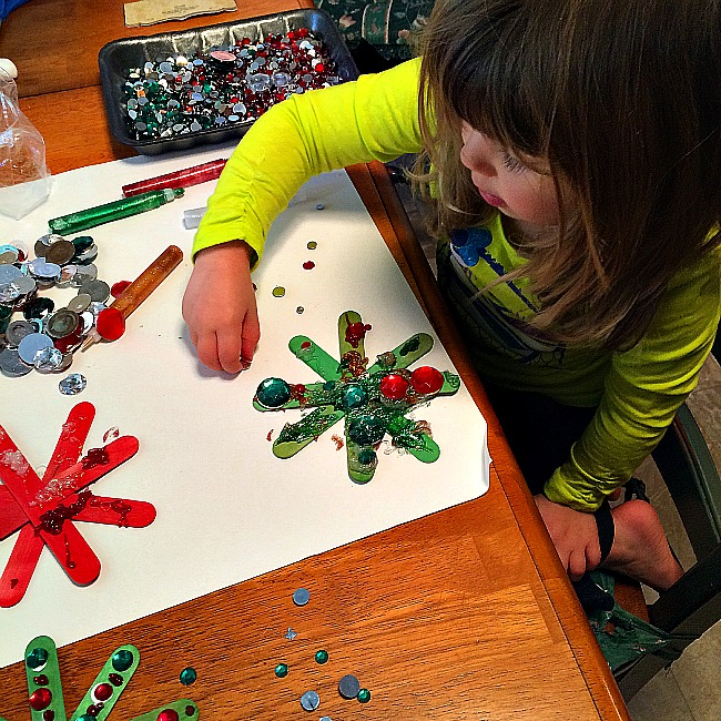 sparkly craft stick snowflake ornament crafts for kids