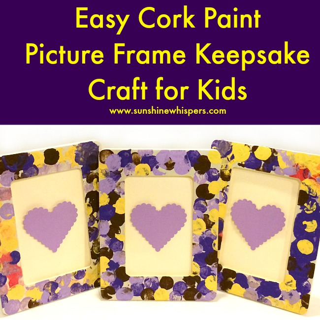 easy cork paint picture frame keepsake craft for kids