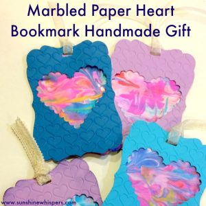 marbled paper heart bookmark