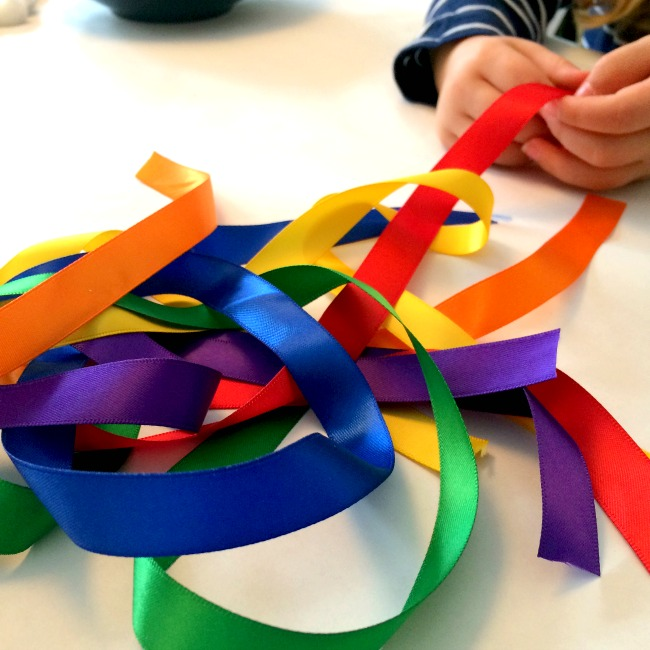 rainbow ribbon craft for kids