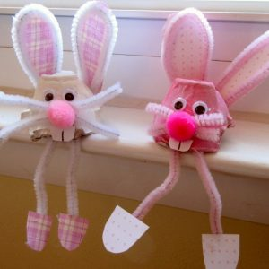 easter bunny egg carton craft for kids