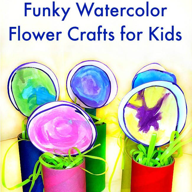 Funky Watercolor Flower Crafts for Kids