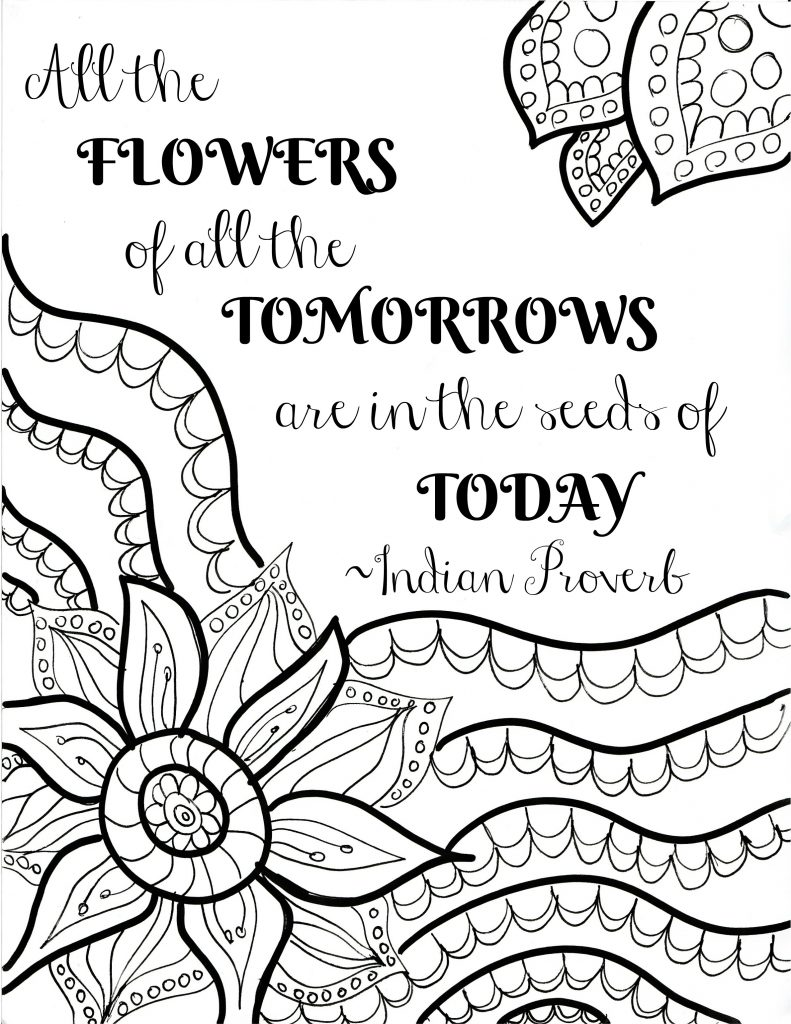 flower quote coloring page