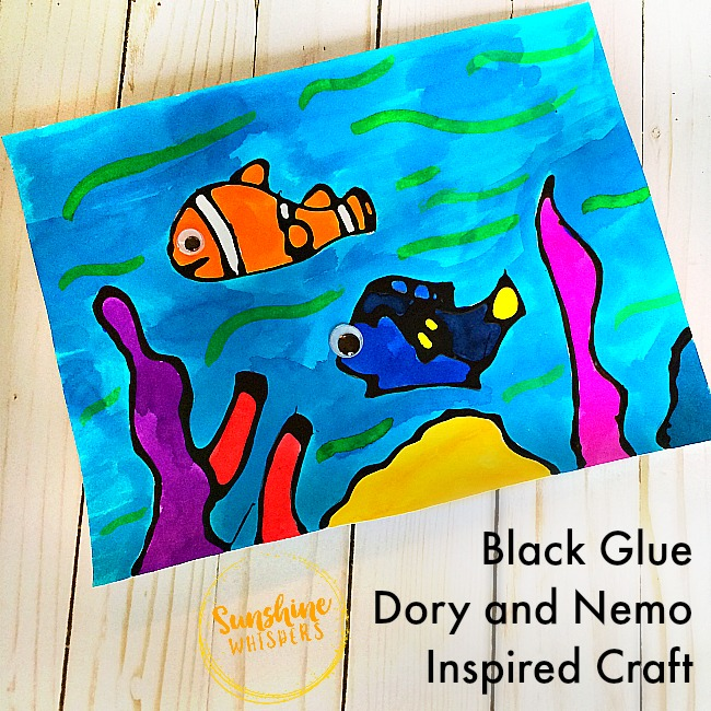 Black Glue Dory and Nemo Inspired Craft for Kids
