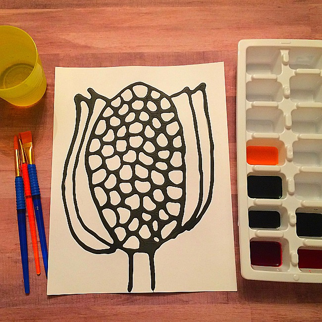 black glue corn craft