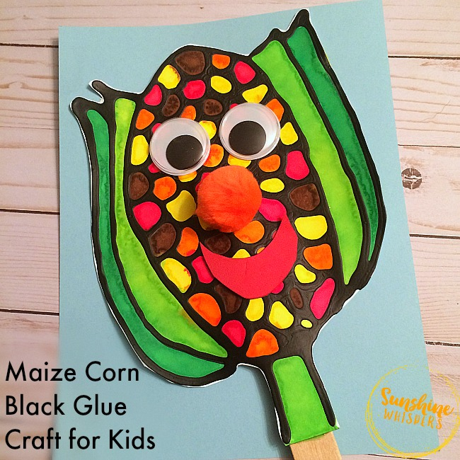 Black Glue Maize Corn Craft for Kids