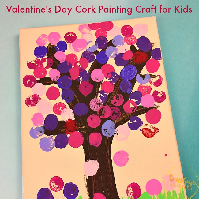 valentine's day cork painting craft for kids
