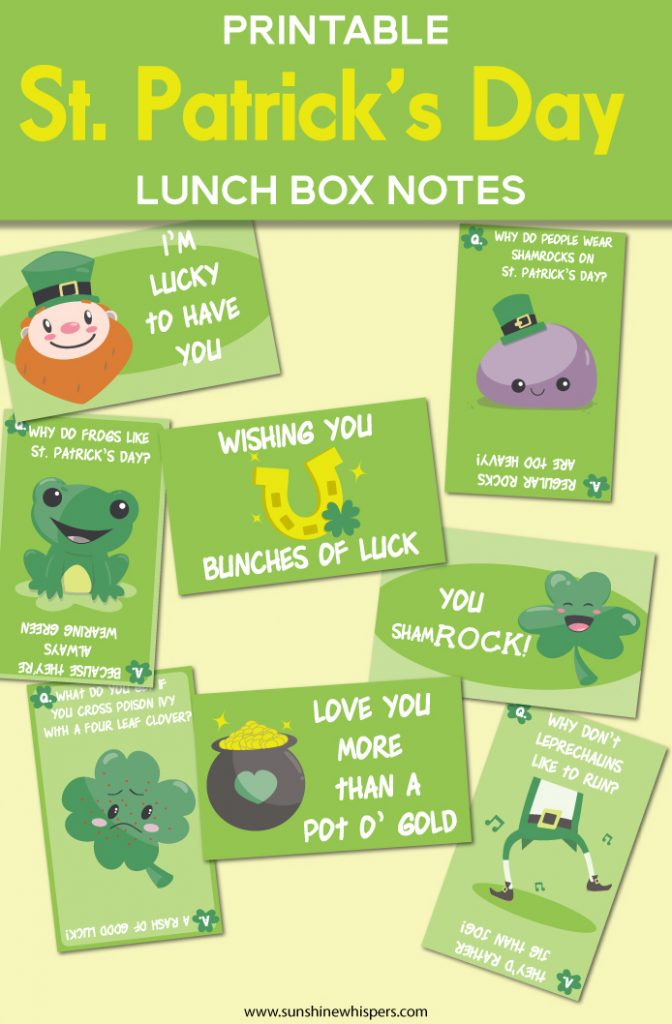 st patrick's day lunch box notes