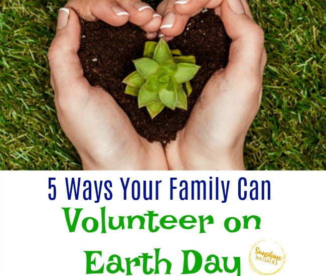 family volunteer on earth day