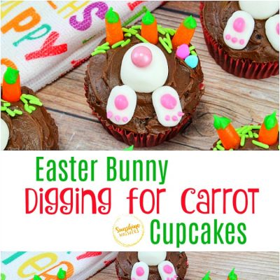 Easter Bunny Digging for Carrot Cupcakes
