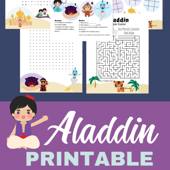 aladdin printable activity pack