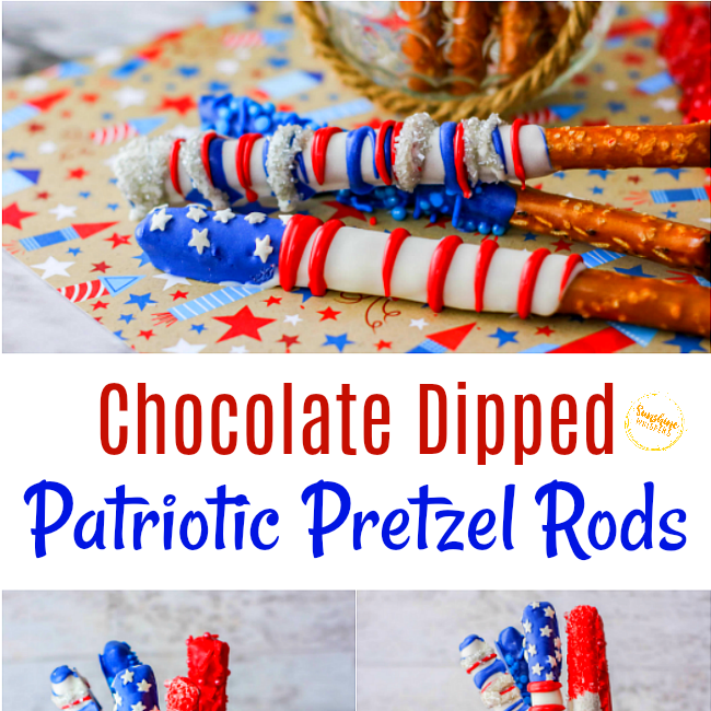 chocolate dipped patriotic pretzel rods