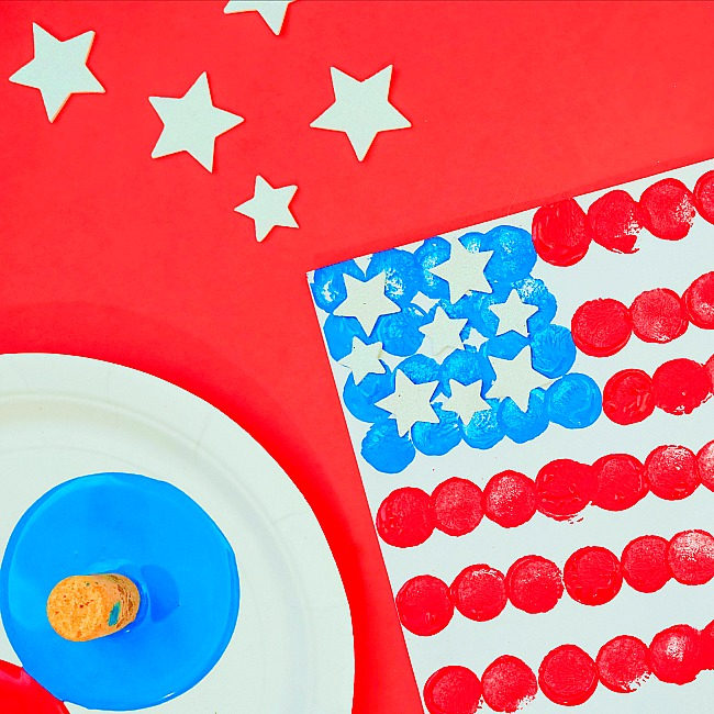 easy cork paint american flag craft for kids