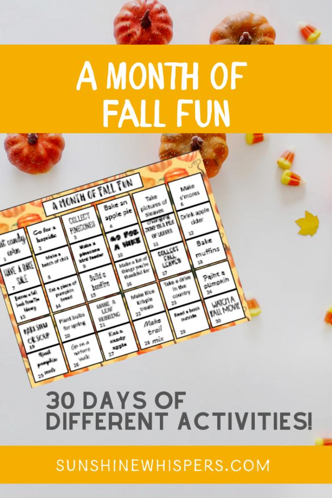 Fun Fall Bucket List Printable