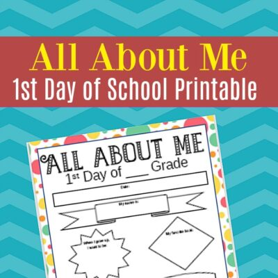 All About Me First Day Of School Printable