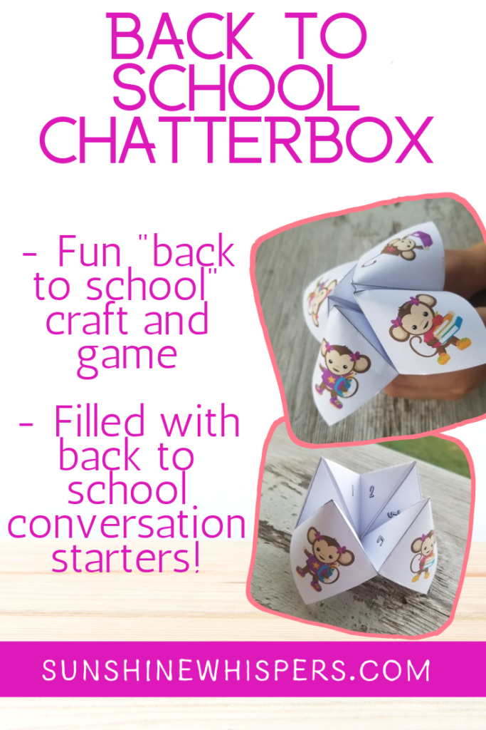 monkey themed back to school chatterbox
