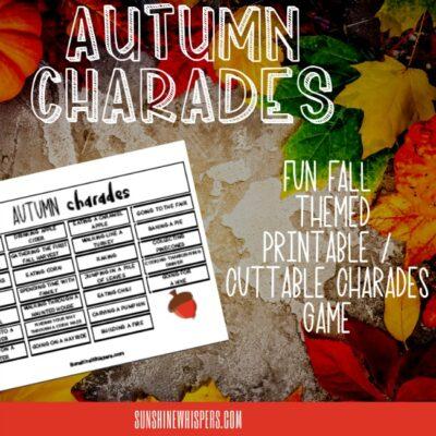Autumn Charades Game FREE Printable