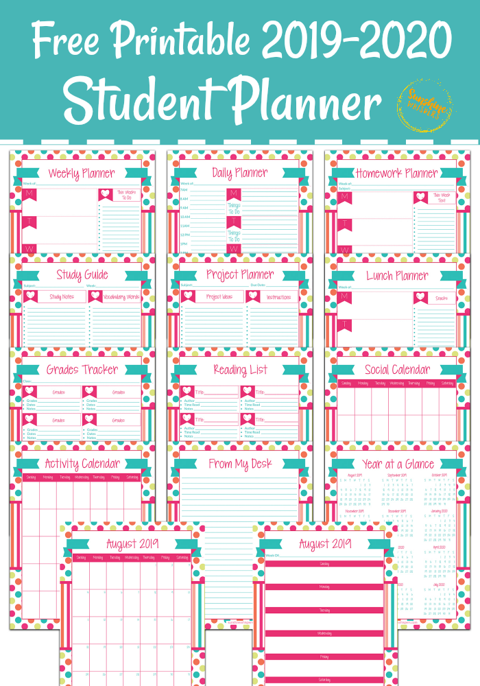 photo regarding Student Planner Printable identified as Free of charge Printable College student Planner for 2019-2020 University Calendar year