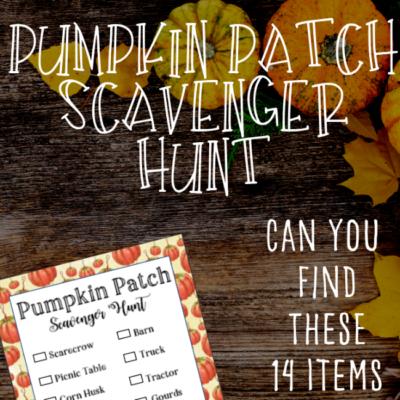 Pumpkin Patch Scavenger Hunt FREE Printable