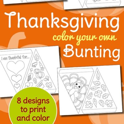 Thanksgiving Bunting Coloring Page FREE Printable