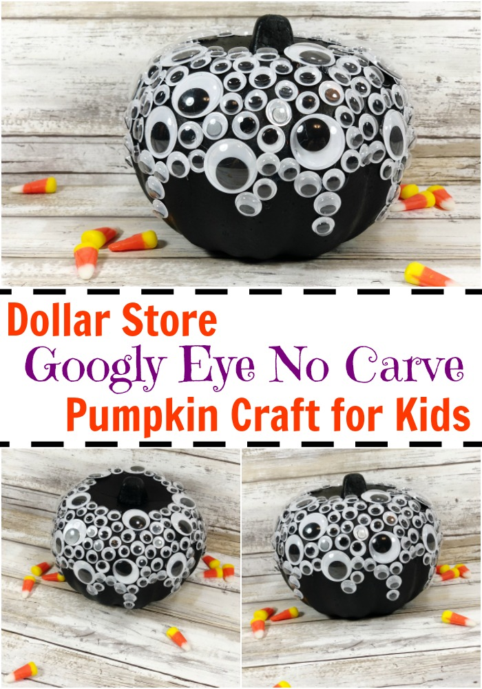 dollar store googly eye no carve pumpkin craft for kids