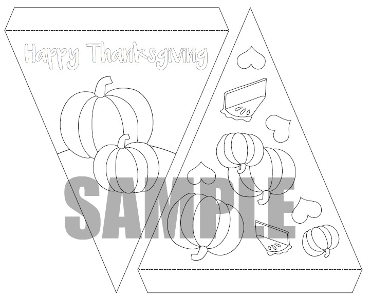 Thanksgiving Bunting Coloring Page Printable