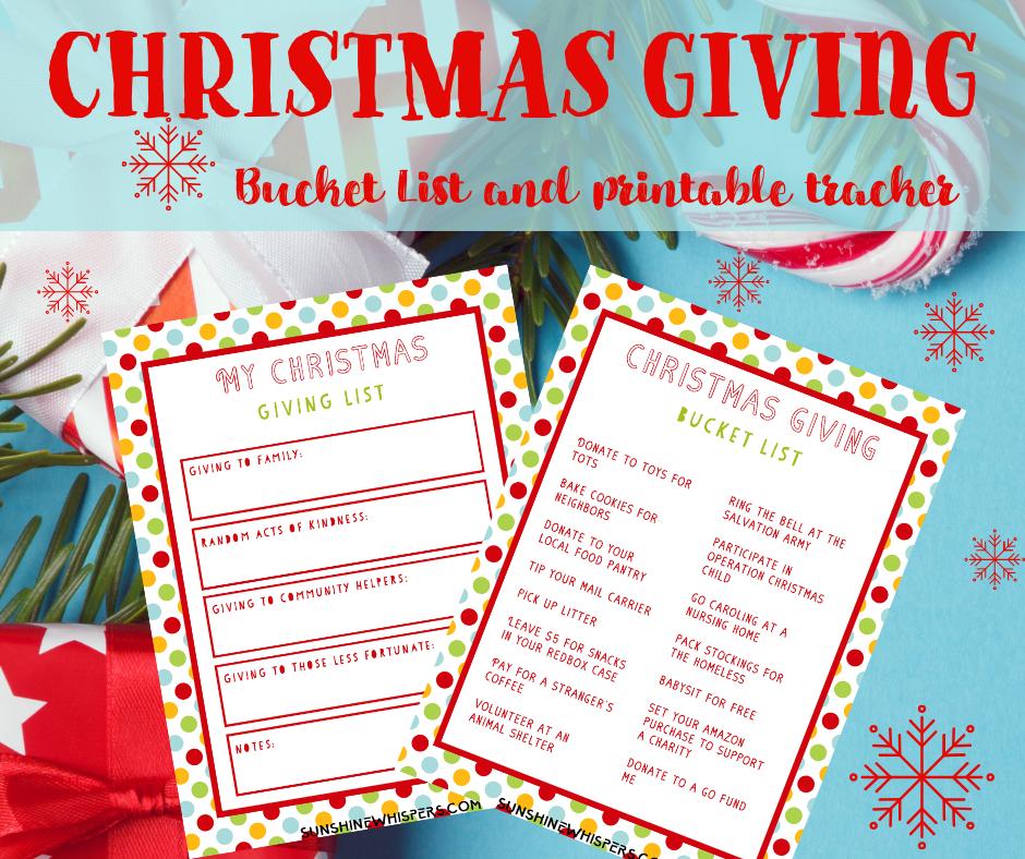 Christmas Giving Bucket List Printable