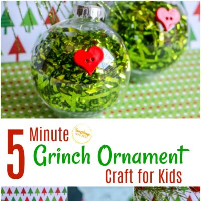 5 Minute Grinch Ornament Craft For Kids
