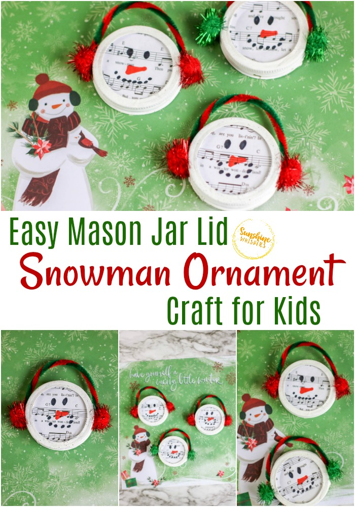 mason jar lid snowman ornament craft for kids