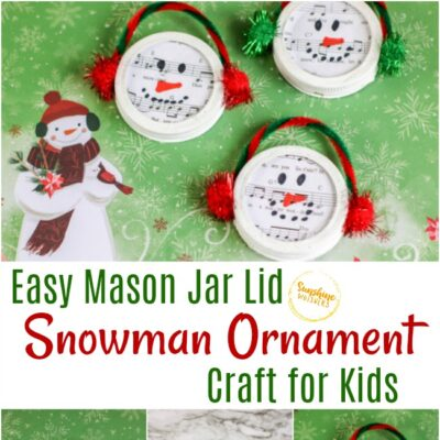 Easy Mason Jar Lid Snowman Ornament Craft For Kids