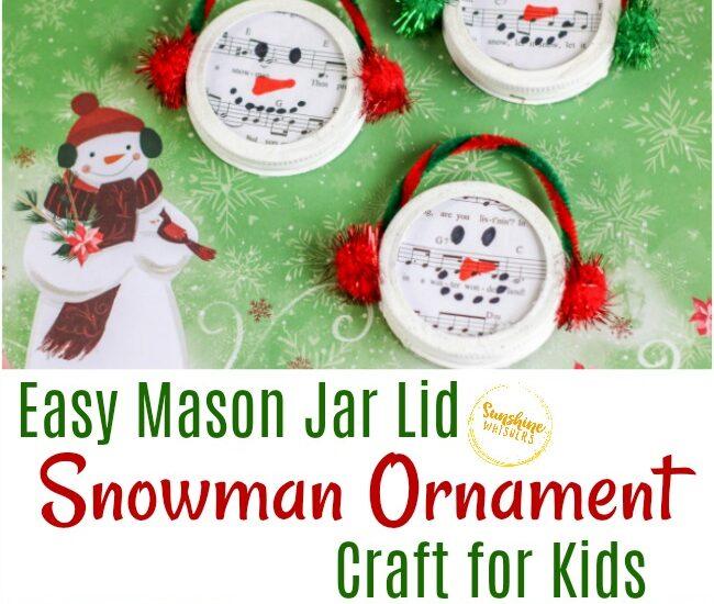 mason jar lid snowman ornament craft for kids