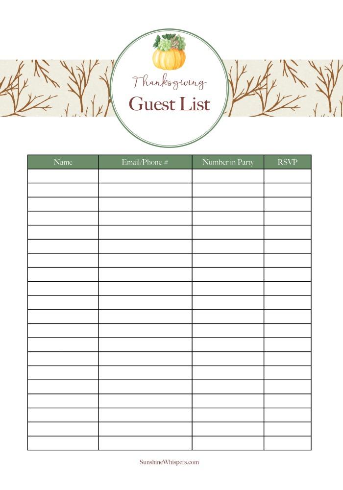 Thanksgiving planning printable