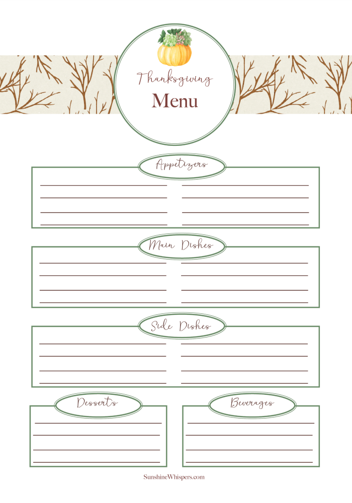 thanksgiving planner printable