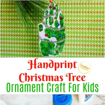 Handprint Christmas Tree Ornament Craft For Kids