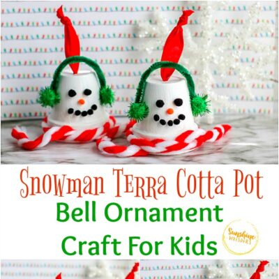 Snowman Terra Cotta Pot Bell Ornament Craft For Kids