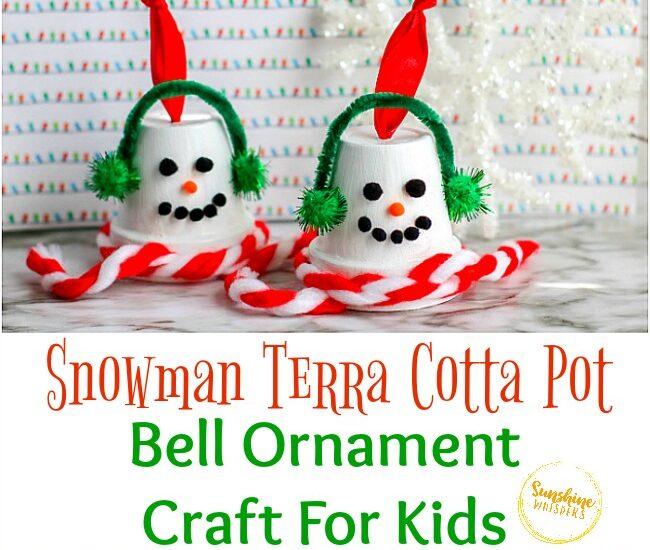 Snowman Terra Cotta Pot Bell Ornament Craft