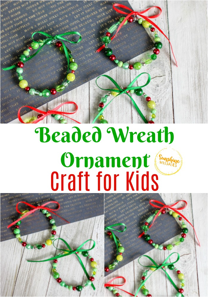 beaded wreath ornament craft for kids