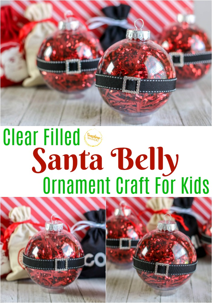 clear filled santa belly ornament craft for kids