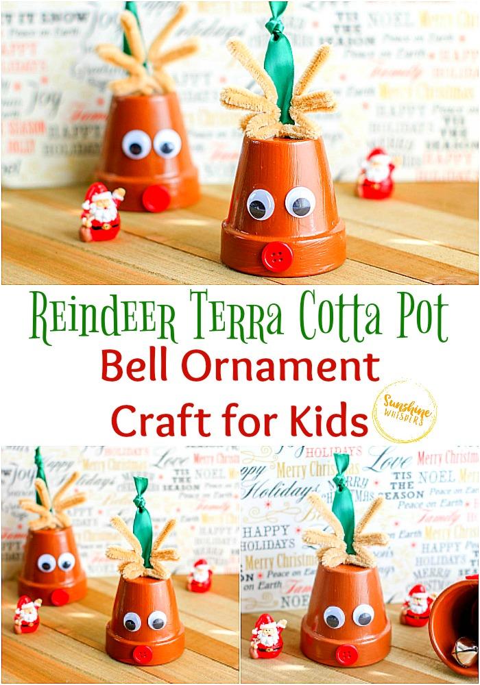 reindeer terra cotta pot bell ornament craft