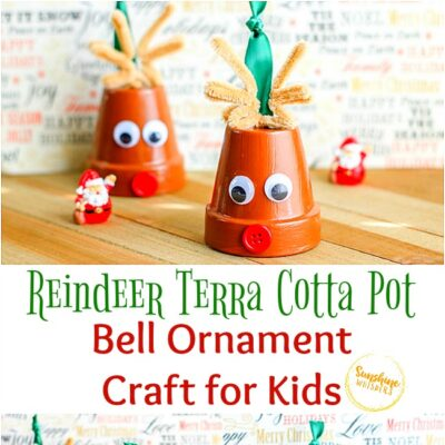 Reindeer Terra Cotta Pot Bell Ornament Craft For Kids