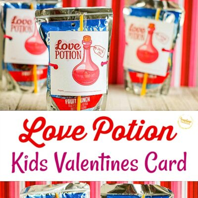 Love Potion Kids Valentines Card Idea (FREE Printable Tag!)